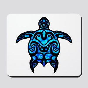 Black Tribal Turtle Mousepad