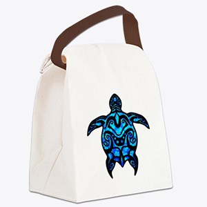 Black Tribal Turtle Canvas Lunch Bag