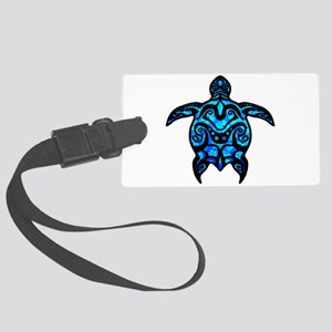 Black Tribal Turtle Luggage Tag