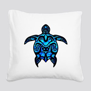 Black Tribal Turtle Square Canvas Pillow