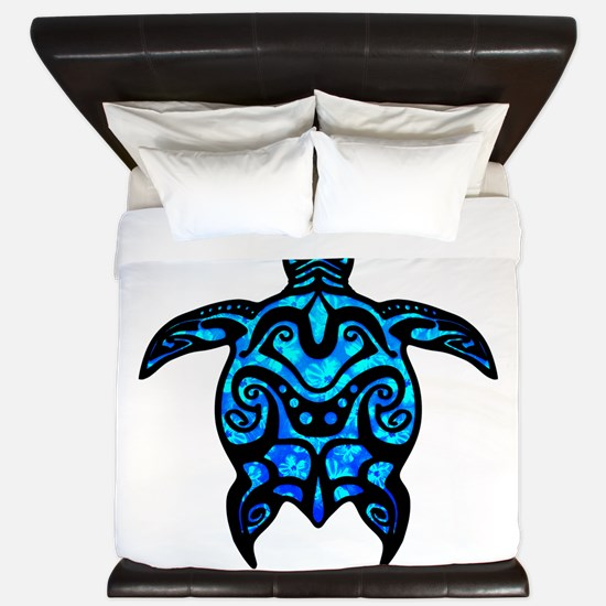 Black Tribal Turtle King Duvet