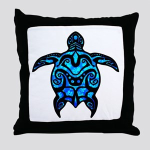 Black Tribal Turtle Throw Pillow