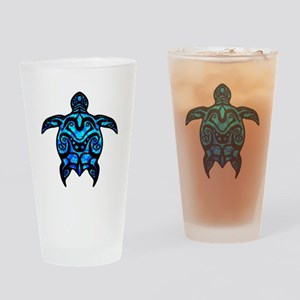 Black Tribal Turtle Drinking Glass
