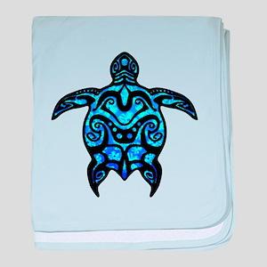 Black Tribal Turtle baby blanket