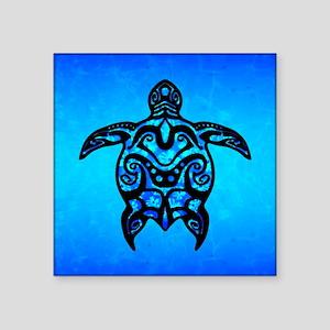 Black Blue Tribal Turtle Sticker