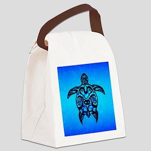 Black Blue Tribal Turtle Canvas Lunch Bag
