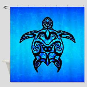 Black Blue Tribal Turtle Shower Curtain