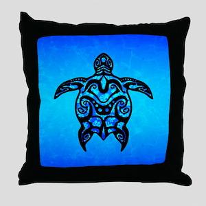 Black Blue Tribal Turtle Throw Pillow