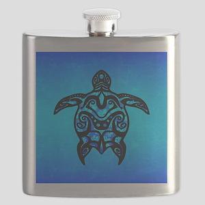 Black Blue Tribal Turtle Flask