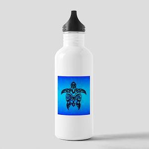 Black Blue Tribal Turtle Water Bottle