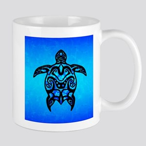 Black Blue Tribal Turtle Mugs