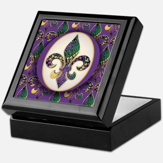 Fleur de lis Mardi Gras Beads Keepsake Box
