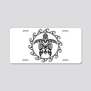 Black Tribal Turtle Sun Aluminum License Plate