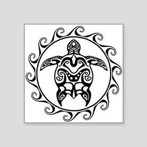 Black Tribal Turtle Sun Sticker