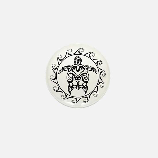 Black Tribal Turtle Sun Mini Button