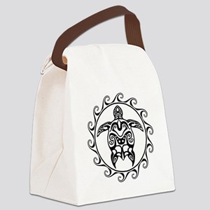 Black Tribal Turtle Sun Canvas Lunch Bag