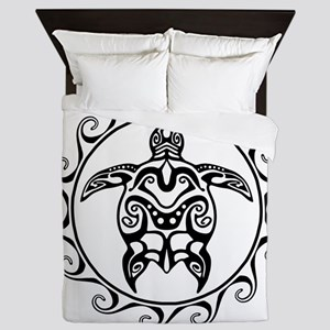 Black Tribal Turtle Sun Queen Duvet