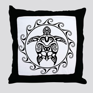 Black Tribal Turtle Sun Throw Pillow