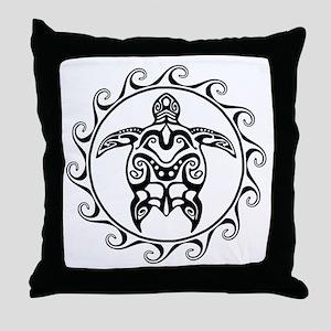 Black Tribal Turtle Sun Throw Pillow