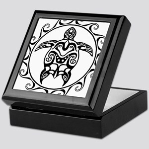 Black Tribal Turtle Sun Keepsake Box