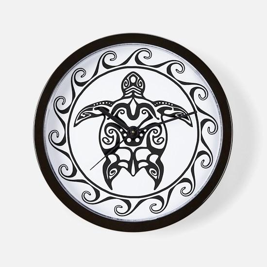Black Tribal Turtle Sun Wall Clock