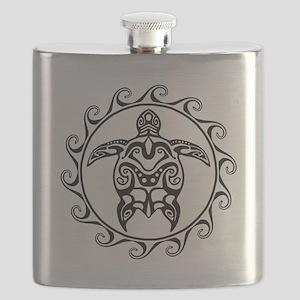 Black Tribal Turtle Sun Flask