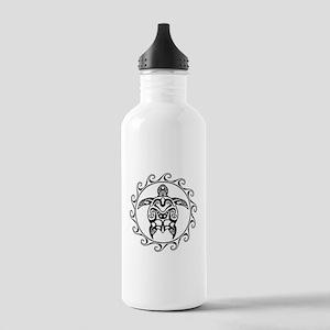 Black Tribal Turtle Sun Water Bottle