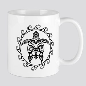 Black Tribal Turtle Sun Mugs