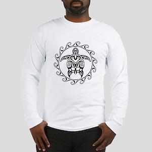 Black Tribal Turtle Sun Long Sleeve T-Shirt