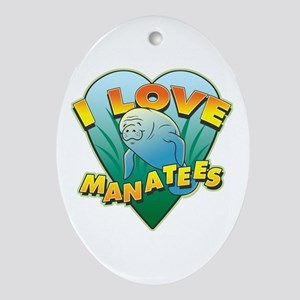 I Love Manatees Oval Ornament
