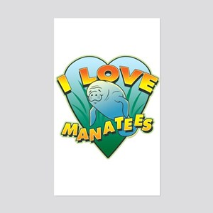 I Love Manatees Rectangle Sticker