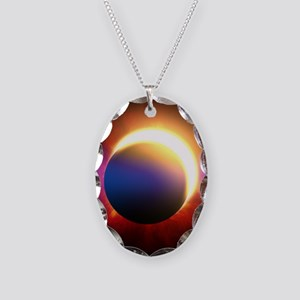 Solar Eclipse Necklace Oval Charm
