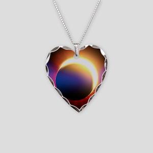 Solar Eclipse Necklace Heart Charm