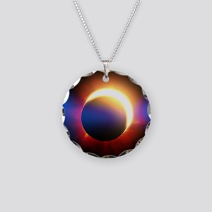 Solar Eclipse Necklace Circle Charm