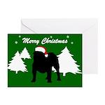 Merry Christmas Bulldog Greeting Cards (Pk of 10)