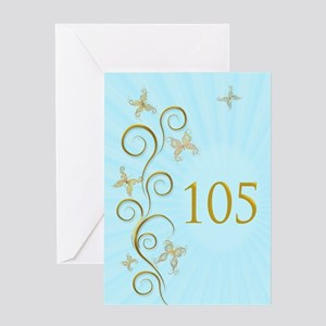 105th birthday, with golden butterflies Greeting C