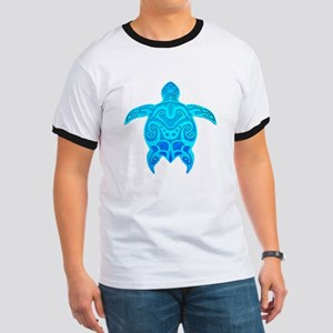 Blue Tribal Turtle T-Shirt