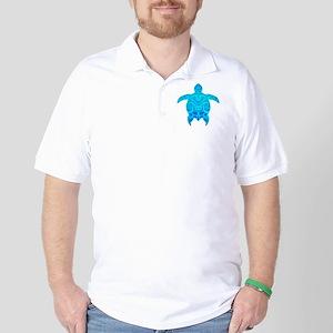 Blue Tribal Turtle Golf Shirt