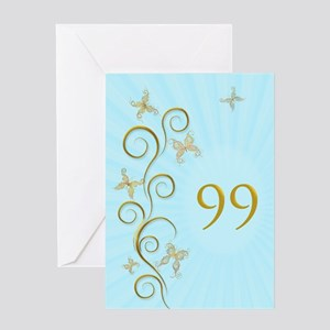 99th birthday, with golden butterflies Greeting Ca
