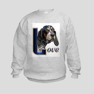 Bluetick Coonhound Love Kids Sweatshirt