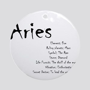 Aries Traits Round Ornament