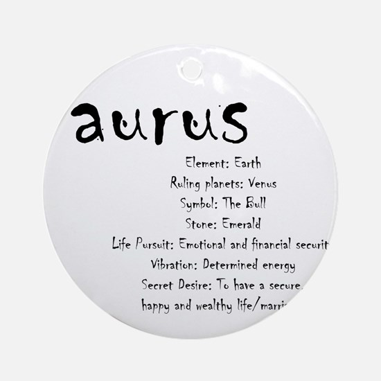 Taurus Traits Round Ornament