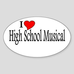 I Love High School Musical Oval Sticker