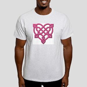 Pink Celt Heart Ash Grey T-Shirt
