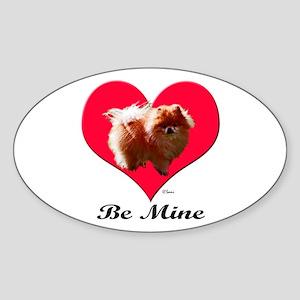 A Pomeranian Valentine Oval Sticker