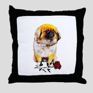 Pekingese Valentine Rose Throw Pillow