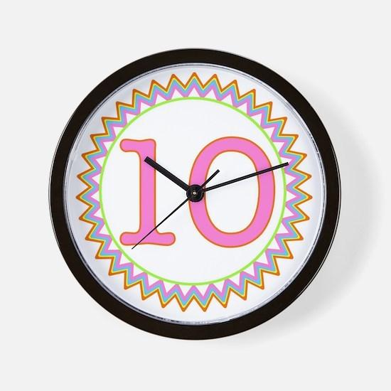 Number 10 Sherbert Zig Zag Wall Clock