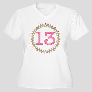 Number 13 Sherber Women's Plus Size V-Neck T-Shirt