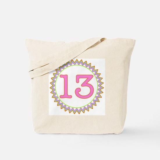 Number 13 Sherbert Zig Zag Tote Bag