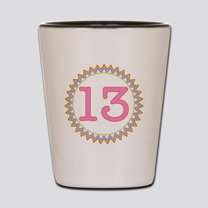 Number 13 Sherbert Zig Zag Shot Glass